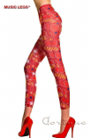 Chilirose Leggings Rossi Con Fantasia | ML-35647